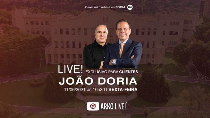 AArkoAdvicepromoverá, nesta sexta-feira (11), umalivecom o governador de São Paulo, João Dória (PSDB).