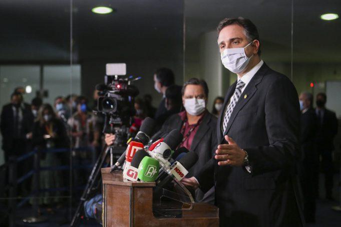 O presidente do Senado Federal, senador Rodrigo Pacheco (DEM-MG) fala sobre acusações de fraude nas eleições. Foto: Pedro Gontijo/Senado Federal